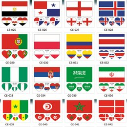 soccer team flags NZ - Waterproof Tattoo Sticker National Flag Banners Soccer Fans Heart-shaped on Face Arm Wrist Body Stickers 32 Teams HH7-975