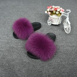 booties winter women UK - Jancoco Wide Fashion Autumn Soft Furry Women Genuine Sandals Slippers Slides With Real Fox Fur