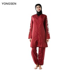 women islamic swimsuit Australia - YONGSEN Muslim Swimwear Three-piece Hijab Burkinis With Hat Elegant Thin Women Islamic Swim Wear Beachwear Full Cover Swimsuit
