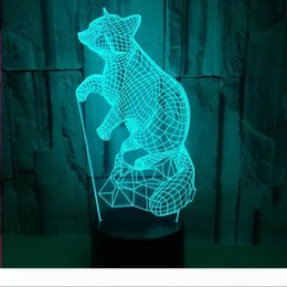fox night light Australia - 2020 new transparent 3D fox night light creative colorful touch remote control LED small table lamp festive home atmosphere decorative table