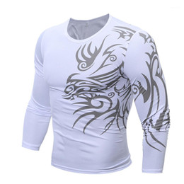 tattoo tees NZ - Homme Tees Mens Designer O-Neck Tattoo Tshirts Long Sleeve Skinny Mens Tops Fashion Slim Contrast Color