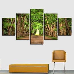 painting green Australia - Canvas Painting Artwork Modular 5 Pieces Green Tree Forest Natural Landscape Art Posters Printing Wall Picture Decor Living Room
