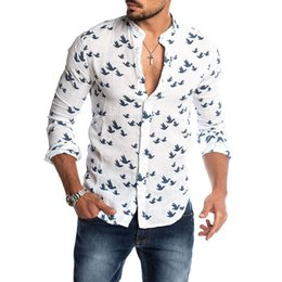 Wholesale linen blouses for women online – Bird Printed Linen Shirt For Women Casual Stand Collar Short Sleeve Summer Shirts White Male Blouse Men s Clothing