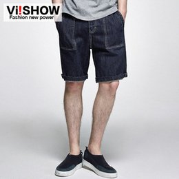 knee length pants for men UK - VIISHOW MEN JEANS PANTS mens jeans straight multi pocket Mens denim shorts knee length ripped for men 28-37 FLfE#
