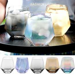 block business Canada - 300ml Glass Wine Glasses Milk Cup Colored Crystal Glass Geometry Hexagonal Cup Phnom Penh Whiskey Cup DHD36