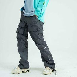 Wholesale hip hop trousers women resale online – Pockets Feet Drawstring Cargo Pants Men and Women Side Button Streetwear Plus Size Casual Trousers Hip Hop Overalls