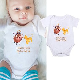 Wholesale baby rompers sale for sale – dress 2019 Jumpsuits Newborn Baby Boy Girl Clothes Rompers Costumes HAKUNA MATATA Outfits Set Hot Sales White