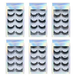 stem box UK - 5 Pairs of False Mink False Eyelashes 3d Natural Thick Volume for Beauty Makeup Extension False Eyelashes Strip Lashes Laser Box Packaging