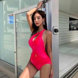 smallest bikinis UK - Single shoulder Swimsuit Korean 2020 new solid color slim cross small chest gathered sexy one-piece swimsuit for women