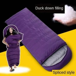 ultra light winter sleeping bag Canada - Down Warm sleeping bag outdoor winter adult ultra light indoor thickened warm camping duck down sleeping bag envelope stitching