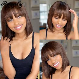 short straight wigs bangs NZ - Bob Lace Front Wigs With Bangs Peruvian Straight Short Wig 13x6 Brown Honey Blonde Lace Front Human Hair Wigs For Women