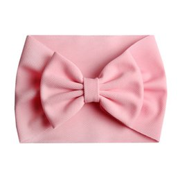big bow diy Australia - 2020 New Arrival Turban Popular 5'' Big Hair Bow Headband For Girls Headwrap Textured Fabric Elastic Kids DIY Hair Accessories