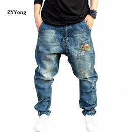 blue denim cargo pants UK - US Blue Hip Hop Harem Denim Jeans Men Cargo Pants Camouflage Patchwork Streetwear Joggers Little Feet Elasticity Cowboy Trousers UvGj#