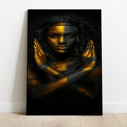 indian frames UK - Modular Poster Home Decor Black Gold Nude Woman Indian Wall Artwork Hd Print Pictures Canvas Paintings For Living Room Framed