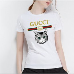 Wholesale cats t shirt online – design Summer new to fashion women s cotton T shirt lovely graffiti leisure charm T shirt lovely cat lady T shirt