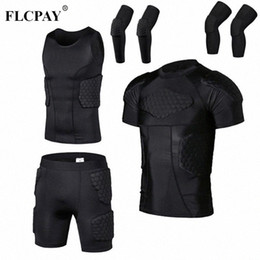 football compression suit NZ - Men's Liner Compression Anti-Collision Suit Shorts Vest Knee Pads Football Basketball Skating Football Anti-Collision Clothing VvDk#