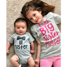 Wholesale big sister shirts for sale - Group buy Big Sister Shirt and Little Brother Bodysuit Family Matching T shirt Big Sister Lil Mister Girl Tees Newborn Romper Clothes