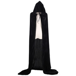 Wholesale halloween witch cosplay for women online – ideas Halloween Cloak COS Grim Reaper Long Cloak Custumes Cosplay Wizard Witch Prince Princess Cape For Men Women