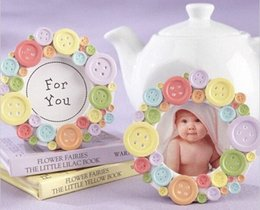 frames favors wholesale UK - Free Shipping Baby Shower Favors Mini Lovely Button Baby Photo Frame Card Holder Wedding Favors wholesale 50pcs lot kdNu#