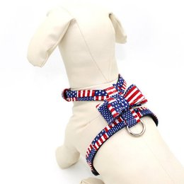pet stores UK - Printed Bow Pet Chest Strap Dog Leash Set Adjustable Collars Breakaway Pet Chest Strap Store