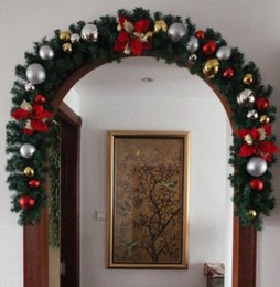 christmas ball garland NZ - 2.7M X 25CM Christmas Leaf Rattan Garland Bowknot Flower Balls Decorated Thick Mantel Fireplace Xmas Garland Pine Tree lzm4#