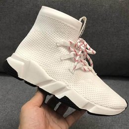 stretch canvas prints Canada - New Speed Sock Shoes High Quality Speed Sneakers Men Women Shoes Speed Stretch-knit Mid Boots Size Eur 35-44 Model s1