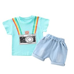 cute boy t outfits UK - Summer 2020 cute baby boys suits casual Infant Outfits cartoon short sleeve T shirt+shorts 2pcs set baby boy clothes boys outfits B1553