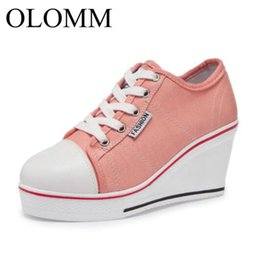 low platform wedges UK - OLOMM 2019 women canvas shoes wedge heel lace up low top fashion woman sneakers platform lady casual shoes TD-98 Y200801