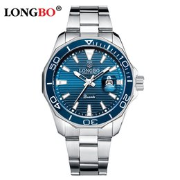 Discount water calendar LONGBO Men's Watch Top Quartz Watch for men Calendar Stainless Steel Strap Business Men relogios masculino