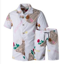 Wholesale swim shirts men online – design New Men Street Wear Workout Sets Summer Men s Board Shorts Surf Shirts Male Print Floral Beach Wear Swimming Shorts