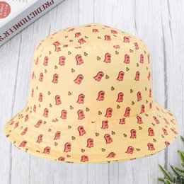 yellow blocks Canada - 1Pc Summer Sun Hat Korean Style Cartoon Graffiti Hat Outdoor Sun Block Dinosaur Pattern Fisherman for Men and Women Yellow