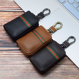 top cell phone wholesalers UK - New top layer cowhide case case car key bag waist hanging ribbon men's and women's general Mini small car key cover