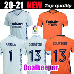 blue real madrid s soccer jersey Canada - 2020 Real Madrid Goalkeeper blue Soccer Jerseys 20 21 Orange #13 COURTOIS Goalkeeper soccer shirt 2019 #1 AREOLA Football uniforms