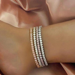 18k anklets NZ - Hip Hop 18K Gold Bling Diamond Womens Tennis Chain Anklet Barefoot Ankle Bracelet Bijoux Iced Out Cubic Zirconia Chains Jewelry For Women