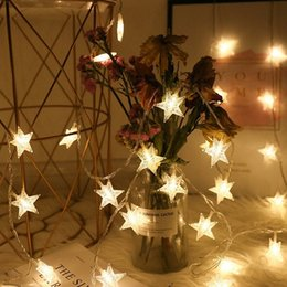 star christmas lights string UK - Christmas Decoration 10 20  LED Star Light String Garlands Battery Powered New Years Decor Christmas Decorations For Home Gift zQOQ#
