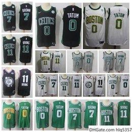 Toptan satış 2020 Erkek Şehir BostonCelticsnba Kyrie Irving 11 Jayson Tatum 0 Jaylen Kahverengi 7 Sürümü Dikişli Gömlek swingman Basketbol Forması