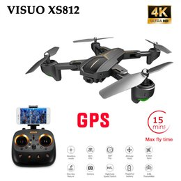 gps control rc UK - XS812 GPS 5G WiFi FPV With 4K FHD Camera 15mins Flight Time Foldable RC Drone Quadcopter RTF Kids Birth Gift VS f196