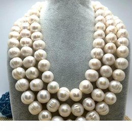"huge yellow necklace Canada - Fine pearls jewelry high quality HUGE 12-13MM NATURAL SOUTH SEA GENUINE WHITE PEARL NECKLACE 50"" 14K GOLD CLASP Sweater chain"