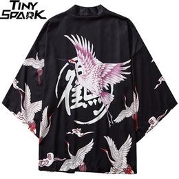 japanese clothing Canada - Japanese Kimono Jacket Crane Kanji Printed Harajuku 2020 Hip Hop Men Japan Streetwear Jacket Summer Thin Clothing Loose Kimono CX200801
