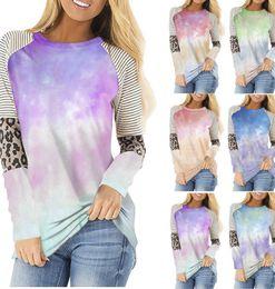 Wholesale spring colors long sleeve shirts for sale – custom Long Sleeve T shirt Stripes Tie Dye Leopard Printed O Neck Casual Tops Sweatshirt T shirt COLORS LJJK2434