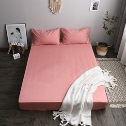 Wholesale Bed Cover Mattress Protection Bed Cover Solid Color Brushed Cloth Polyester Fabric Two-piece Bed Cover Pillowcase Printing Dyeing VT1405