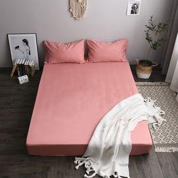 venda por atacado Cama capa de colchão de proteção Bed Tampa cor sólida escovado tecido de poliéster Tecido de duas peças Cama Tampa Pillowcase impressão tingimento VT1405