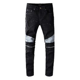 2020 B Hommes Jeans Fashion Jeans Ripped Special Design Zipper Hommes Distressed Denim Joggers Slim-Fit Jeans Homme 642 645 646