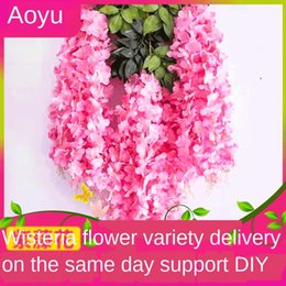 vine glass UK - wisteria basket hanging basket encryption bean wall hanging decoration artificial flower artificial flower Vine