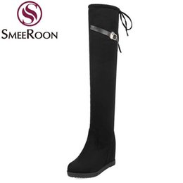 over knee boots spike NZ - Smeeroon women over the knee boots buckle grind arenaceous popular winter boots height increasing high heels woman's shoes
