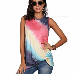 Wholesale summer tank top t shirt resale online - Summer gradient color printed sleeveless vest tank top women tie tye round neck t shirt girls fashion knot casual tshirt S XL WF710