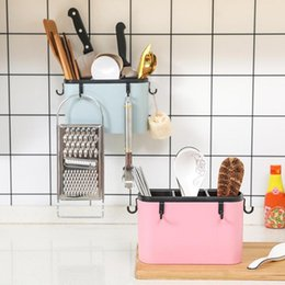 cutlery storage boxes NZ - Household Kitchen Cage Cutlery Storage Box Wall-Mounted Chopsticks Tube Practical Plastic Storage Box Organizer Containers