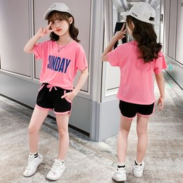 big girls short pants NZ - Children's girl suit pants suit shorts pants set summer in the big fashion foreign flavor Korean version two-piece girl shorts set