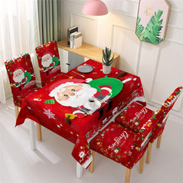 print tablecloths wholesale UK - Christmas Chair Back Cap Santa Snowman Printed Tablecloth Chair Back Cover 140*140cm 140*180cm Polyester Tablecloth Party Table Covers