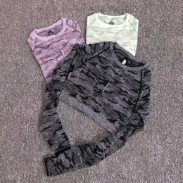 Wholesale cropped shirts resale online - Women Camouflage Yoga Crop Top Seamless Long Sleeve Workout Shirts Cropped Fitness Running Sport T Shirts Tight Gym Sportswear